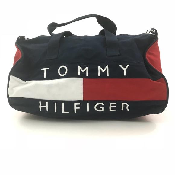 30ffe801f3 Vintage 90's Tommy Hilfiger Duffle Bag Spellout. M_5a9760ea2c705d271429f73a